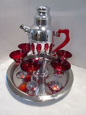 Art Deco Martini Set 8 Pc Chrome set Lucite Tray Cocktail shaker 6 glasses