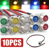 10x Car Boats 12V 8mm LED Indicator Light Bulbs Dashboard Panel Warning Lamp