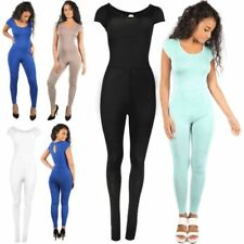Patternless Scoop Neck Short Sleeve Jumpsuits & Playsuits for Women