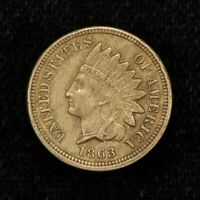 1863 1c INDIAN HEAD SMALL CENT, AU COIN - 4 DIAMONDS! LOT#Y524