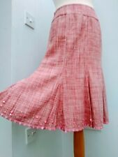 Vintage Monsoon Size 10 Pink Tweed 100% Silk Midi Skirt Excellent Condition