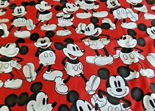 Vtg Mickey Mouse Red & Black Twin Flat Sheet Disney Bedding Curtains Fabric #2