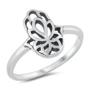 925 Sterling Silver Lotus Flower Hamsa Hand of Fatima Ring J L N P R T