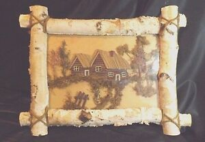 REAL BIRCH WOOD FRAME WITH 3D DESIGN UNDER PLASTIC COVER WALL ART 13 1/2 X 18 IN