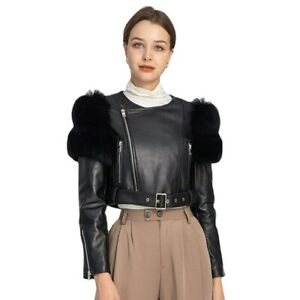 Women's Real Leather Jacket with Real Fur Lambskin Coat Outerwear New 33626