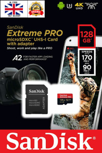 Genuine Sandisk 128GB Extreme Pro Micro SD SDXC Card V30 A2 170Mb/s + SD Adapter