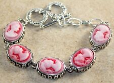 Silver Vintage Style Red Cameo Beauty Girl Cameo Oval Bracelet WB11203