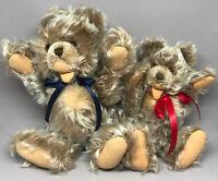 Steiff Zotty Teddy Bear x 2 Mohair Plush 22cm 25cm Jointed 1960s no ID Vintage