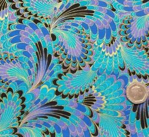 1/2 Metre Timeless Treasures Peacock Palazzo + Gold Metallic Thread Quilt Fabric