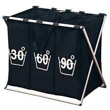 Kesper 19590 Trio Panier À linge bois Noir 63 x 57 x 38 cm