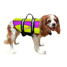 Pawz Pet Products Neoprene Dog Life Jacket Yellow/Purple Handle for Quick Lift