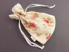 Cream Red Rose Pink Flower Lace Top Fabric Pouch Bag Jewellery Gifts 13 X 9.5 cm