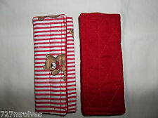 Handmade Red & White w/Bears Unisex Shoulder/Seat Belt Covers Rear/Fwd Facing