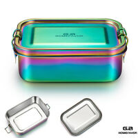 Lunch Box 800ml Stainless Steel Bento Box, Large Metal Food Container Leakproof