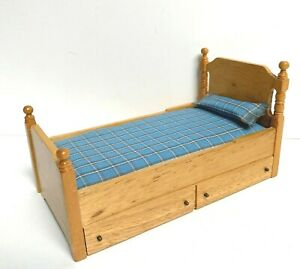 1:12 Vintage Dollhouse Miniature Furniture Wooden Trundle Bed GUC