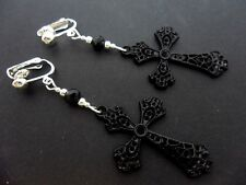 A PAIR OF LONG BLACK CROSS CRUCIFIX GOTH  MADONNA CLIP ON EARRINGS. NEW.