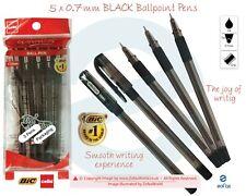 5 x 0.7mm BIC CELLO Winner BLACK Fine Ballpoint Pens Soft Grip Smooth Writing