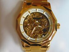 """Sewor Winner 43mm """"Mechanical Automatic"""" Gold Fused Stainless Steel Watch L@@K!"""