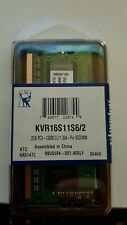 Memoria RAM Notebook 2GB SO DIMM DDR3 KINGSTON KVR16S11S6 / 2 PC3-12800 CL11