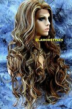 Long Wavy Layered Brown Blonde Mix Full Lace Front Wig Heat Ok Hair Piece NWT