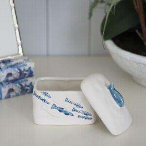 Under The Sea Trinket Box Porcelain Blue White Hamptons Coastal Home Decor