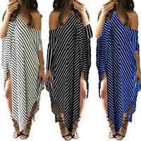 Women Maxi Dress Off Shoulder Bat-wing Sleeve Stripes Irregular Kaftan Dress