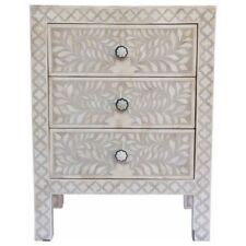 Bone Inlay Floral Wooden Design Antique Handmade Bed Side Table