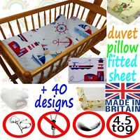 CRIB bedding DUVET FITTED SHEET PILLOW cradle BEDDING SET boy girl baby