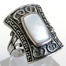 FANCY NATURAL MARCASITE MOTHER OF PEARL 925 STERLING SILVER RING SIZE 6