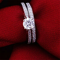 Charm Silver Plated Women Zirconia Crystal Wedding Engagement Rings Set Jewelry