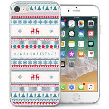 Apple iPhone 7 Case Merry Christmas Festive Artwork Best TPU Gel Cover White/Red