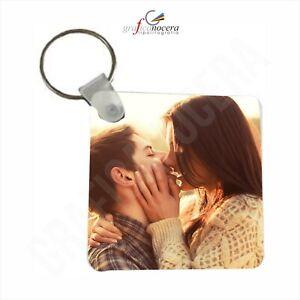 Portachiavi Quadrato o forma di Cuore Personalizzato con foto 2 lati idea regalo
