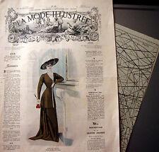 LA MODE ILLUSTREE + PATRON,  n° 39/1908 Voir modèles à réaliser, FRENCH PATTERN