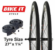 """NEW PAIR OF CYCLE TYRES 27"""" x 1-1/4"""" WITH FREE INNER TUBES - PRESTA VALVES"""