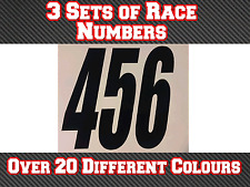 3 x Custom Race Numbers Vinyl Stickers Decals Motocross Track Bike N17
