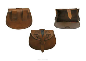 Medieval Bag Large Day-Pouch Heavy Duty Brown/Black 'Fleur' Leather Reenactment