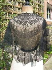 Antique French 19th century Chantilly lace shawl with long lappets