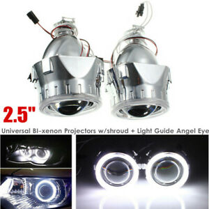 "2.5""HID Bi-xenon Projector Lens LHD/RHD Headlight w/Light Guide Shroud Angel Eye"