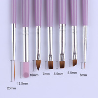 7Pcs Acrylic Nail Art Pen Tips UV Builder Gel Painting Brush Manicure Set