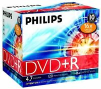 Philips DVD+R 120 Mins 4.7GB 16X Speed Recordable Blank Discs - 10 Pack w/ Cases