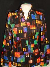Vtg Terry Chicago Multi Color Geo Design Poly/Elastane L/S Top Sz. M Gorgeous