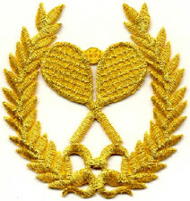 Tennis Patch - Tennis Crest - Fully Embroidered Gold Metallic Iron On Patch