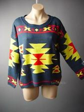 Southwestern Intarsia Pattern Navy Blue Slouch Pullover Jumper 61 ac Sweater S/M