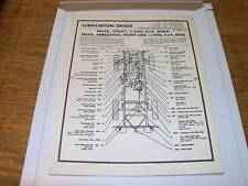 Jeep Willys M38A1 G758 NOS ORIGINAL Lube chart March 56
