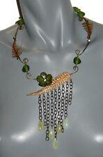Bijoux de créateur pour femme COLLIER chaine fougère métal & pierre verte neuf