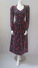 LAURA ASHLEY VINTAGE VELVET ROSE PRINT DRESS SIZE 12