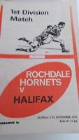 17.11.74 Rochdale Hornets v Halifax programme