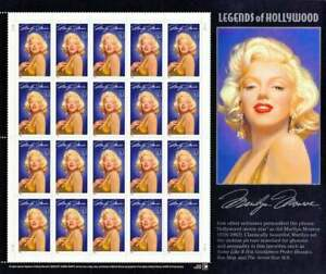 MARILYN MONROE LEGENDS OF HOLLYWOOD 20 MNH STAMPS 32C