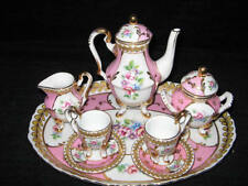 "NEW FRENCH SEVRES  ""VERSAILLES""  CHILD'S PINK & GOLD TEA SET w/UNDERPLATE"