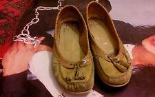 Zapato mujer pistacho talla 38 bailarina flecos piel CHEIS piel ante